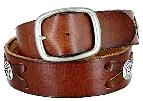 Celtic Swirl Conchos Belt Genuine Full Grain Leather Belt 1-3/4
