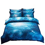 YOMIMAX 3D Mysterious Boundless Galaxy Sky Starry Night Bedding Sets Twin/Full Quilt Cover Set (Twin, Q)
