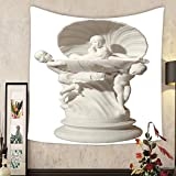 Lee S. Jones Custom tapestry statue with three girls and shells on an isolated background