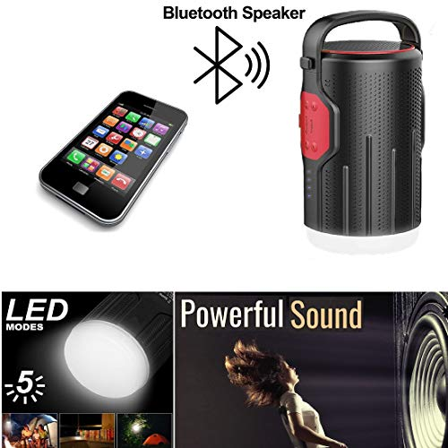 Rechargeable Portable LED Camping Lanterns Flash Light Emergency Lantern; Bluetooth Speaker; Power Bank; Multipurpose LED lantern For Hiking, Camping, Emergencies, Hurricanes, Outages(RED)