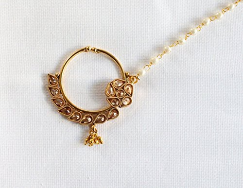 Bridal Nose Ring Chain Indian Wedding Nose Nath Native American