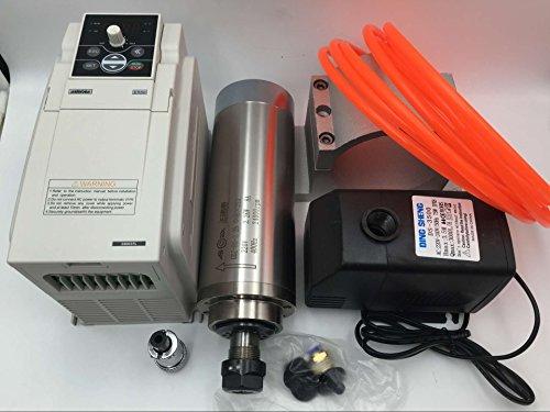 2.2KW 4Bearings Spindle Motor ER20 Water Cooled 220V & 2.2KW VFD Inverter Bracket & Water Pump CNC Kit for Router Engraving by Changsheng