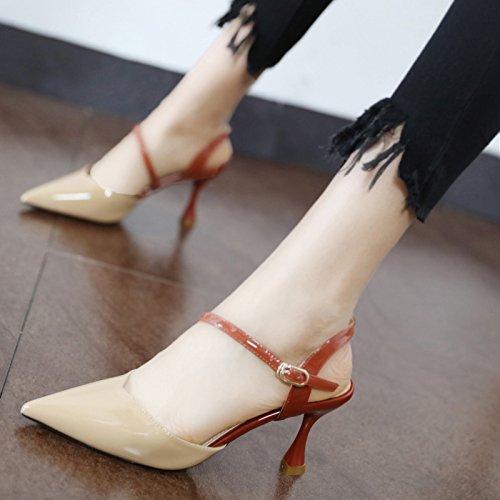 Xue Qiqi Tipp High Heels mit dünnen Glas mit Schnalle lackiertem Leder geschlitzten Schnalle mit Baotou Sandalen 34 Beige 0c363b