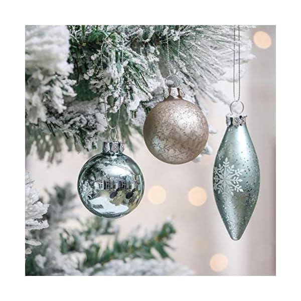 Valery Madelyn Palle di Natale Vetro Addobbi Natalizi Set, 24 Pezzi 6-10cm White, Brown, Silver And Light Green Palline di Natale Decoration for Addobbi Natalizi per Albero 4 spesavip