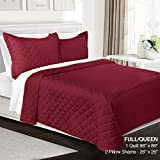 3 Piece Quilt Set Full/Queen Size By Clara Clark– Luxury Bedspread Coverlet Soft All Season Microfiber – Machine Washable - Comes in Many Colors - set includes Quilt & Shams