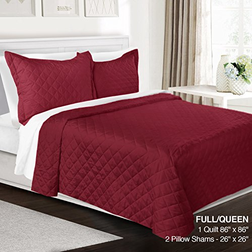 New 3 Piece Quilt Set Full/Queen Size By Clara Clark - Luxury Bedspread Coverlet Soft All Season Mic...