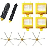 VacuumPal Hepa Filters & Bristle Brush & Flexible Beater Brush & 6-Armed Side Brush Replacement Parts Pack Kit for iRobot Roomba 700 Series 760 770 780 790