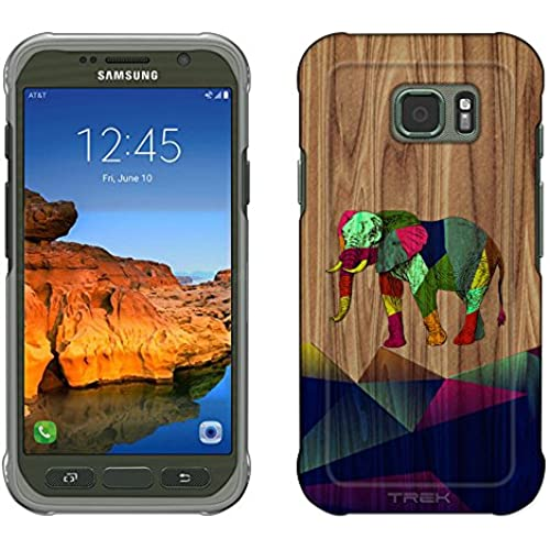 Samsung Galaxy S7 Active Case, Snap On Cover by Trek Geometric Painted Elephant on Wood Slim Case Sales