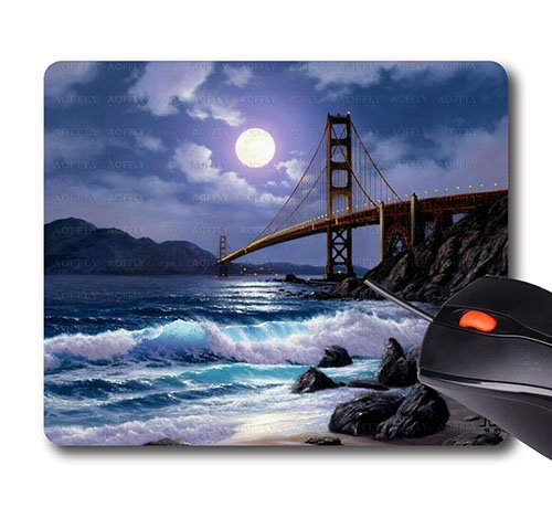 AOFFLY Anthony Casay -Night Sky Suspension Bridge Beach Ocean- Non-Slip Rubber Mousepad Gaming Mouse Pad (Suspension Pad)