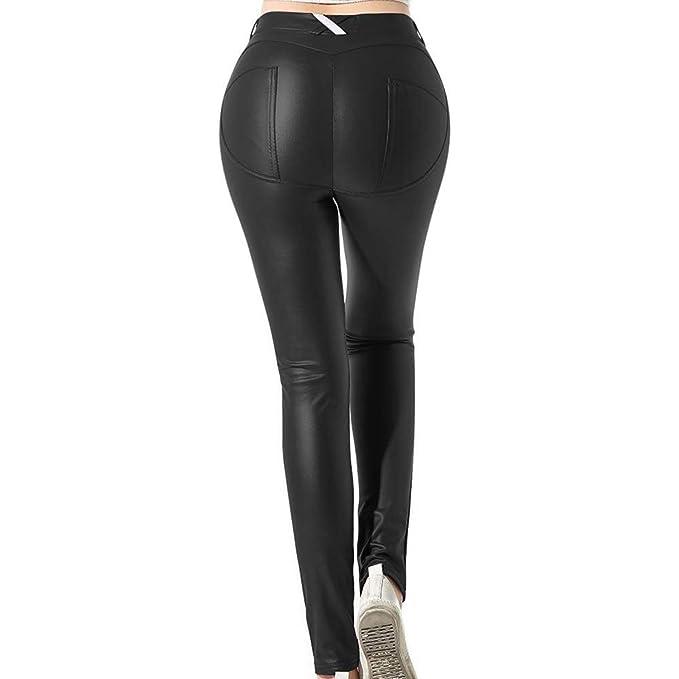 b02fe9e971b7 Uni-Wert Mujeres PU Leggins Cuero Brillante Negro Pantalón Cintura ...