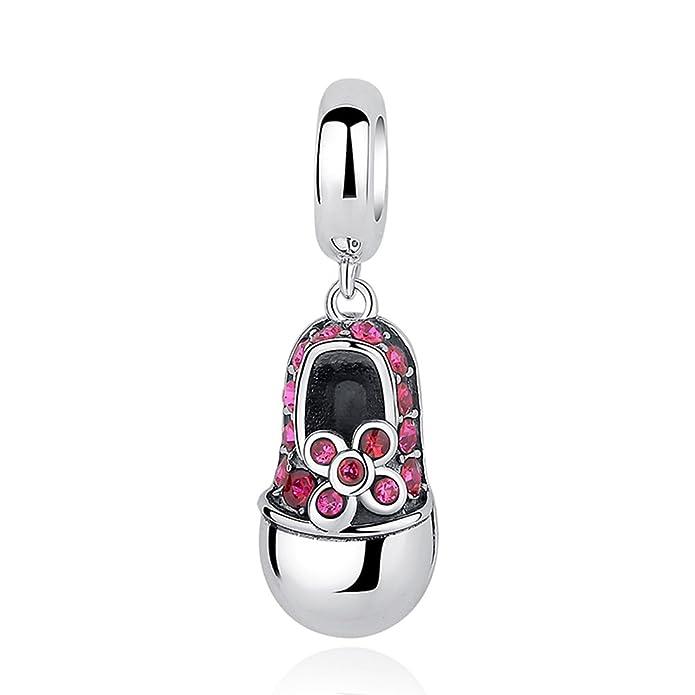 Everbling bebé zapatos rosa CZ Dangle 925?plata de ley Bead Pandora encanto Bracelete QKEdj8I6k