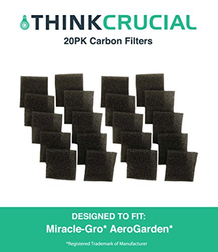 Aerogarden Replacement (20 Replacements for AeroGarden Sponge Filters Fit Miracle-Gro AeroGarden Pumps, Reduces Dirt & Debris in Pump, Increases Life of AeroGarden Pump, by Think Crucial)