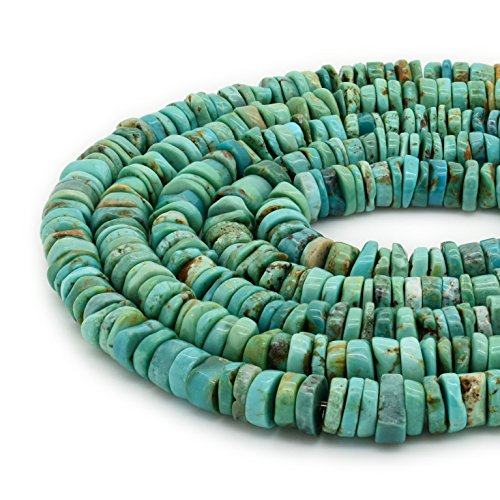 Bluejoy Genuine Natural American Turquoise 7.5mm Free-Form Disc Bead 16 inch Strand for Jewelry Making - Necklace Single Turquoise Strand