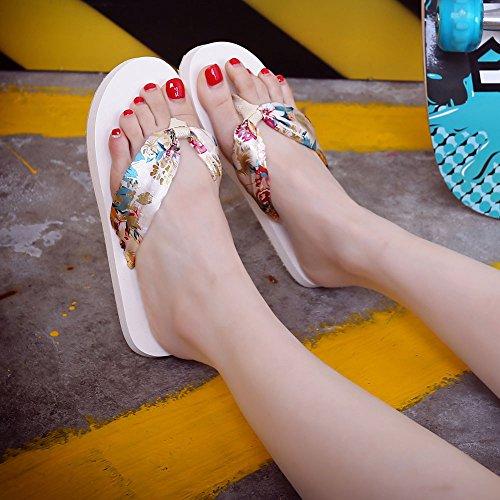 VENMO Sandalias Zapatilla Interior al Aire Libre Playa de Chanclas Zapatos de Mujer Verano Beige