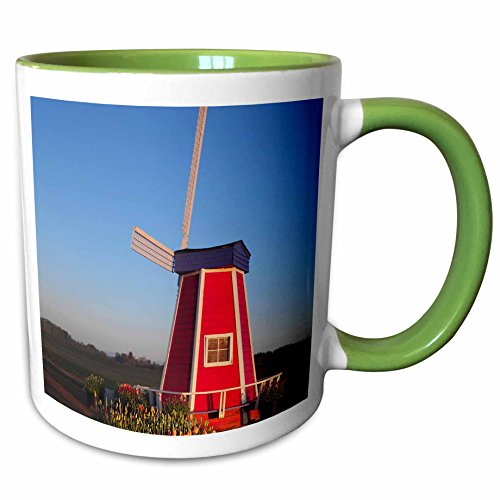 3dRose Danita Delimont - Windmills - Windmill, Tulip Festival, Woodburn, Oregon, USA - US38 MHE0031 - Michel Hersen - 11oz Two-Tone Green Mug - Woodburn Oregon Outlet