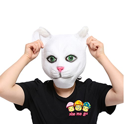 XIAO MO GU Latex Halloween Costume Decorations for Adults and Kids Animal Head Mask Cat (Baby Cat Halloween Costume)