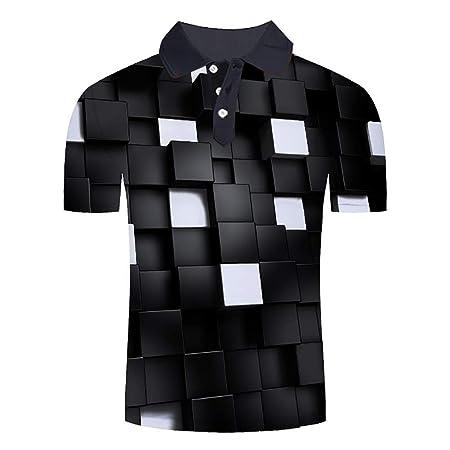 W&TT Camisa de Polo para Hombre Camisas de Solapa de Manga Corta ...