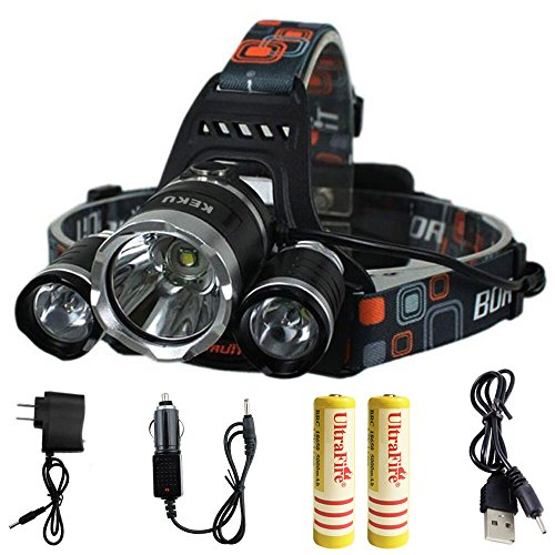 KEKU High Power LED Headlamp(5000 Lumens MAX) Rechargeable Waterproof HeadLamp Flashlight on The Head headlamp with 3 Xm-l T6 4 Modes,Wall Charger and Car Charger for Outdoor Sports (Gray)