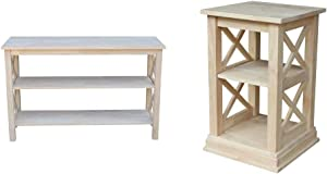 International Concepts Hampton Console or Sofa Table Unfinished & Concepts Hampton Accent Table with Shelves
