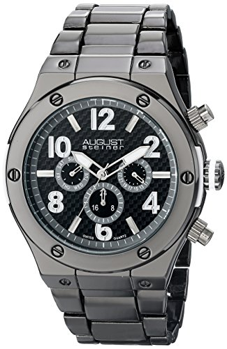 August Steiner Men's AS8126BK Black Multifunction Swiss Quartz Watch with Black Dial and Gray Bracelet
