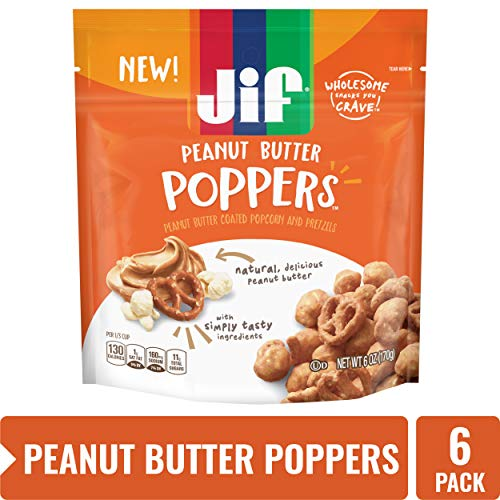 Jif Poppers Peanut Butter-Coated Popcorn and Pretzels, 6-Ounce Bag, 6 Count
