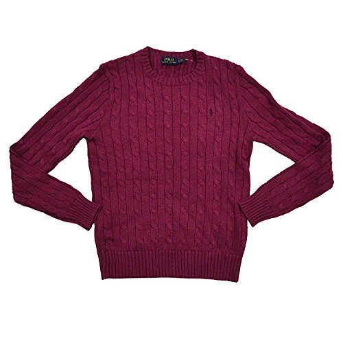 Polo Ralph Lauren Womens Cable Knit Crew Neck Sweater (Small, Red Heather) (Ralph Lauren Cable Sweater)