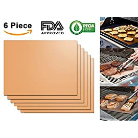 Aquablessing Copper Grill Mat 6 Set 15.75x13''| Non-Stick, Durable, Washable & PFOA Free | For Baking, Grilling, BBQ, Charcoal, Electric, Gas, Oven, Outdoors, Meat, Veggies, Pizza, Cookies & More 5 ❖ MAKE GRILLING EASY AGAIN: Skyrocket your grilling performances and techniques and enjoy cooking time like never before! Still wondering how to do so? With Aquablessing copper grill mats of course! Now barbequing is easy for all. Eliminate the use of excess oil or butter and enjoy healthy yet delicious culinary explorations! ❖ HASSLE FREE CLEANING: Save your precious time and energy with this non stick and dishwasher safe copper food mat! Cook anything you want without worrying about grease, messy oil and scrubbing. When you are done using you can simply toss it in the dishwasher and let it do the rest! Less time cleaning, more time eating goodies. ❖ EACH PACKAGE INCLUDES: 6 copper grilling mats. Each bake mat measures 15.75x13'' and is generous enough to hold all your food delis! Being reusable you can use them again and again. They are perfect for both personal and professional restaurant use! Make the most thoughtful housewarming gift to a diehard griller today!