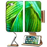 Liili Premium Apple iPhone 7 Flip Pu Leather Wallet Case Close up of hosta green leaves with dew drops 28801261