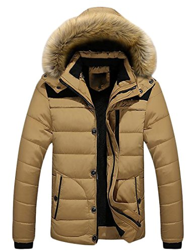Khaki Hoodie Mens Quilted Brd UK Jacket Hot Puffer Winter Faux Down Warm Fur 7O0nEwq1