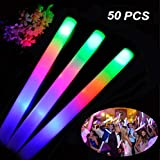 Foam Glow Sticks Bulk 50PCS - Light Up Toys Glow in The Dark Party Supplies with 3 Modes LED Flashing, Party Favors for Kids and Adults