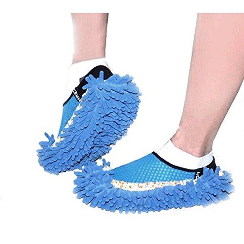 Gosear Fregona de Polvo Zapatillas Limpiar Zapatos / Limpiador de Piso Pulido de Cubierta para Baño Oficina Cocina,Verde Azul