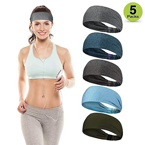 VOXLOVA Sports Headbands for Women & Men, Unisex Sweat Wicking Headband, Moisture Wicking Sweatbands for Workout Yoga Running Cycling Fitness Exercise, Performance Stretch & Comfortable Headbands