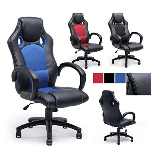 518nzyZGqHL - Belleze Racing Style Office Chair PU Leather Race High Back Swivel Seat Computer Desk