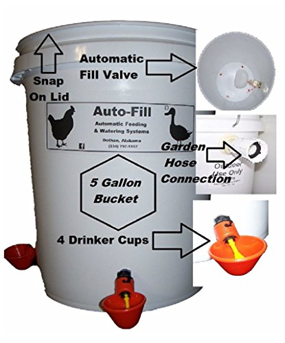 5 Gal Automatic Chicken Poultry Waterer 4 Drinker Cups Hose Connection by Unbranded*