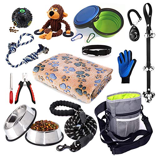 Puppy Starter Kit,Dog Supplies Assortments,Set Includes:Dog Toys/Dog Bed Blankets/Puppy Training Supplies/Dog Grooming Tool/Dog Leashes Accessories/Feeding,Perfect Welcome Home Gift for New Puppies