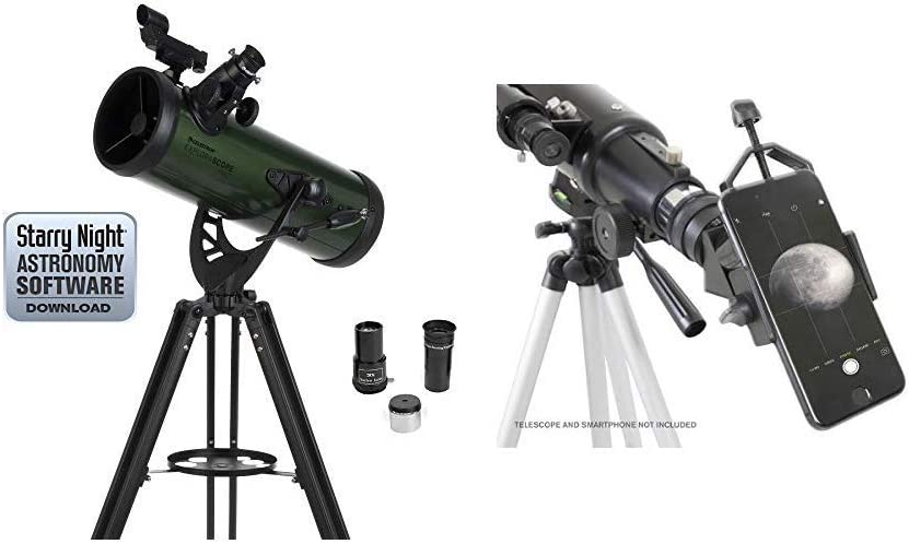 "Celestron ExploraScope 22103 114AZ Reflector Telescope with Celestron 81035 Basic Smartphone Adapter 1.25"" Capture Your Discoveries, Black"