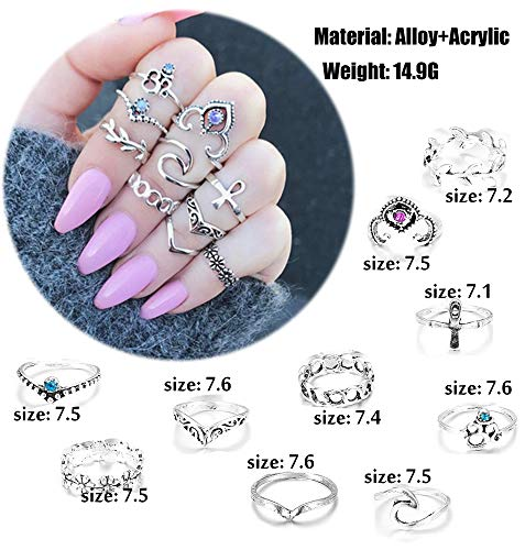 FIBO STEEL 42-63 Pcs Vintage Knuckle Rings for Women Girls Stackable Midi Finger Ring Set (A1: 42 Pcs a Set) by FIBO STEEL (Image #1)
