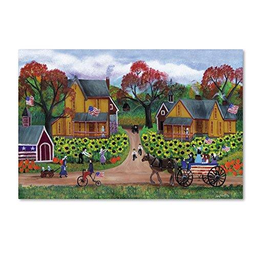 American Sunflower Farm Celebration by Cheryl Bartley, 12x19-Inch Canvas Wall Art