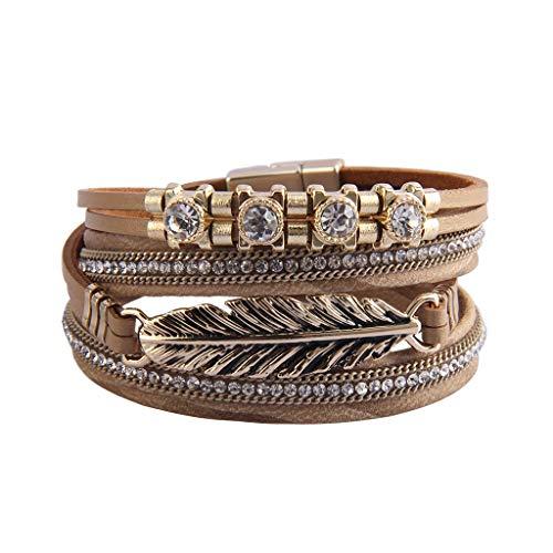 - Jenia Casual Leather Wrap Bracelets Feather Cuff Bracelet Handmade Bohemian Jewelry for Women, Teens Girls, Mother, Sister, Daughter