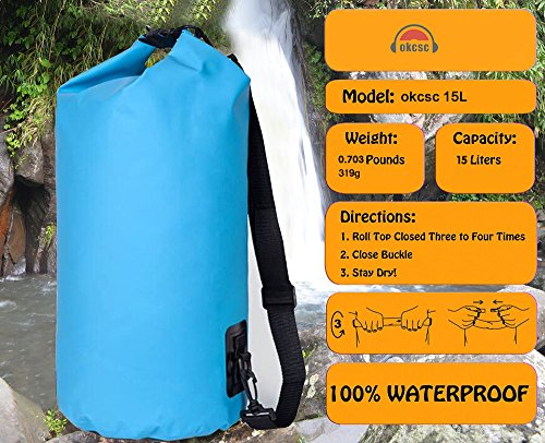 OKCSC(TM) Premium Dry Bags Waterproof Guaranteed Dry Compression Sack with Single Shoulder Strap Floating Dry Bag Perfect For Your Outdoor Life,Adventure,Swimming,River Rafting, Boating,Sailing,Fishing,Hiking,Cycling (Blue)