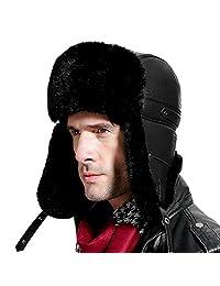 Roffatide Unisex Faux Mink Fur Ushanka Earflaps Chin Strap Aviator Hat