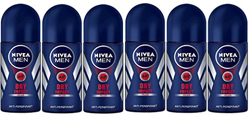 (Pack of 6 Bottles) Nivea DRY IMPACT Men's Roll-On Antiperspirant & Deodorant. 48-Hour Protection Against Underarm Wetness. (Pack of 6 Bottles, 1.7oz / 50ml Each Bottle)