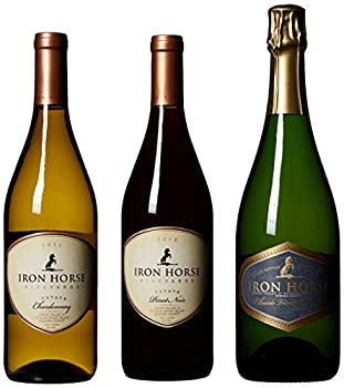 Iron Horse Vineyards Red, White and Bubbly Wine Mixed Pack, 3 x 750 mL