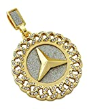 """Peace Symbol Iced Out Cuban Link Framed Medallion Pendant Necklace with 24"""" Rope Chain"""