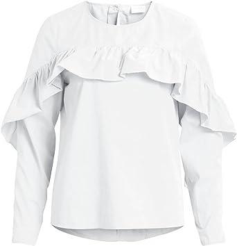 Vila Vijenner L/S Blusa Blanca Mujer: Amazon.es: Ropa y accesorios