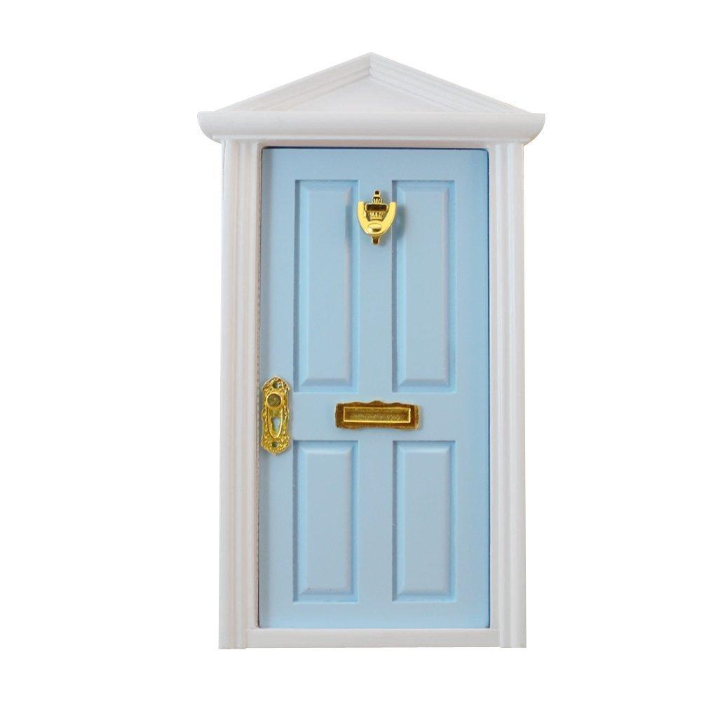 sea-junop 4-Panel Exterior Wooden Door Steepletop with Hardware Knockplate Letter Slot