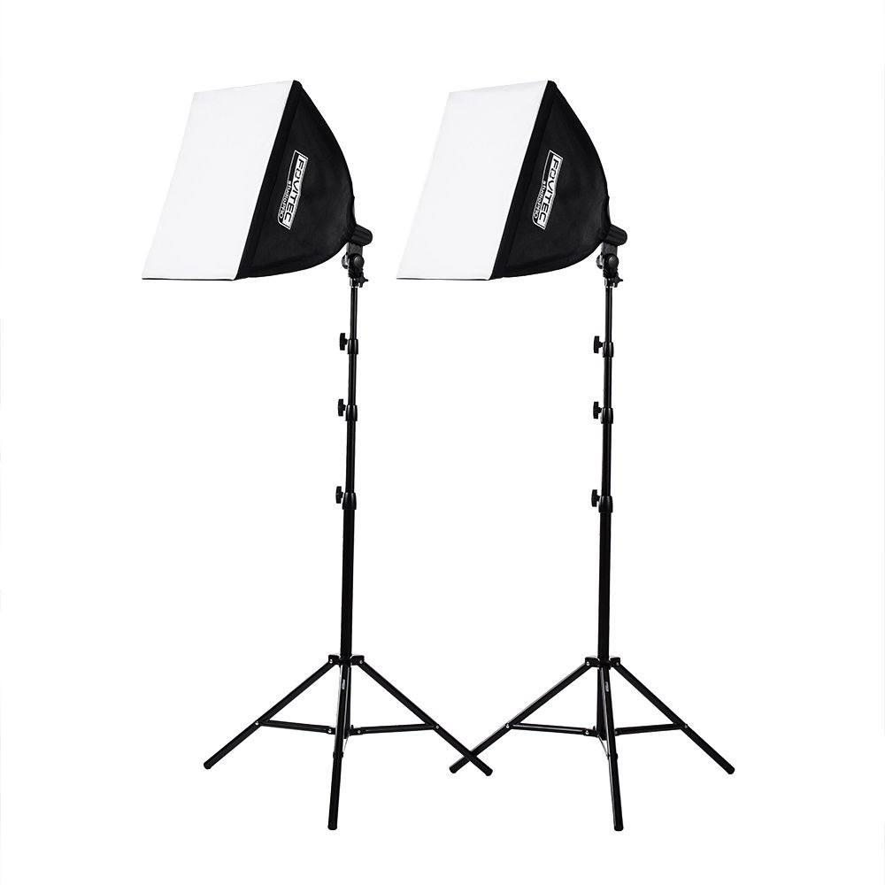 """Fovitec 2-Light High-Power Fluorescent Studio Lighting Kit, 20""""x20"""" Quick Setup Softboxes, 105W Bulbs & Light Stands for Portraits, Product Photos, Vlogging, Video Conferencing, & Live Streaming"""
