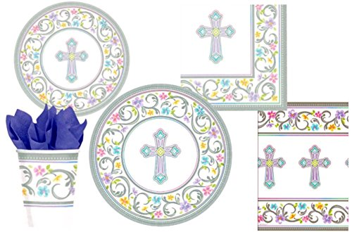 Blessed Day Inspirational Cross Party Supply Pack for 18 Guests: Bundle Includes Dinner Plates, Dessert Plates, Napkins, Cups, and Tablecloth