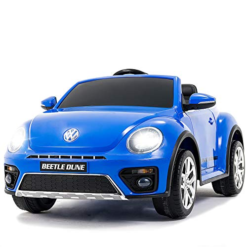 Uenjoy Volkswagen Beetle 12V Kids Electric Ride on Cars Battery Powered Motorized Vehicles, Remote Control, Music, Bluetooth, Suspension, Double Door, Blue (Best Electric Vehicles For Kids)