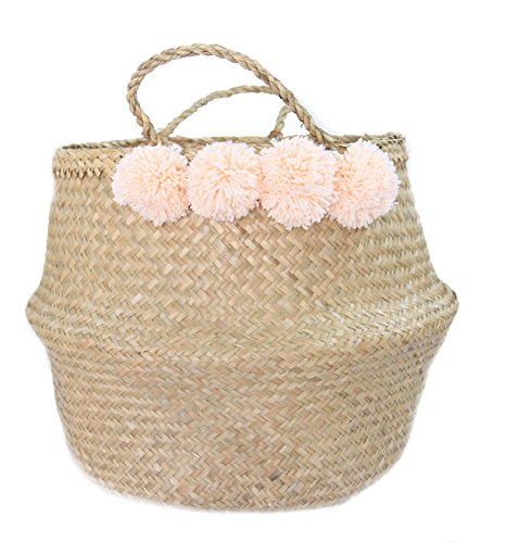 Seagrass Belly Basket Blush Pink Pom Pom